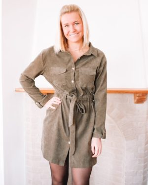 QUALITY TIME KHAKI CORDUROY DRESS